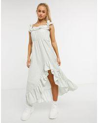 NA-KD Ditsy Floral Off-shoulder Ruffle Midi Dress - White
