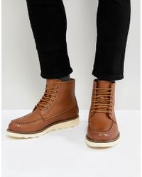 Stradivarius - Leather Lace Up Boots In Tan - Lyst