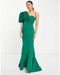 Jarlo Genevieve Maxi Dress With Asymmetric Puff Sleeve - Green