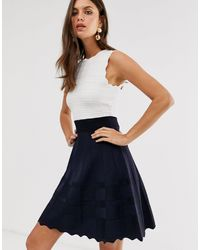 Ted Baker Colorblock Sleeveless Scallop-edge Dress - Blue