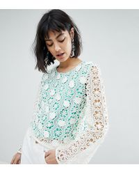 River Island - Fluted Sleeve Flower Applique Top - Lyst