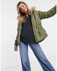 Hollister Куртка Оливкового Цвета С Капюшоном Из Искусственного Меха -зеленый