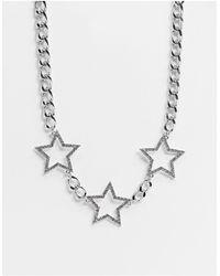 TOPSHOP Collier tendance à gros maillons et orné d'étoiles - é - Métallisé