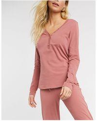 Lindex Astrid Organic Cotton Button Front Pyjama Top - Pink