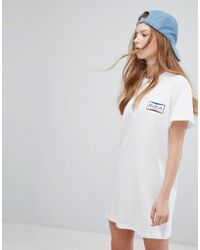 RVCA - Oversized T-shirt Dress With Box Print - Lyst