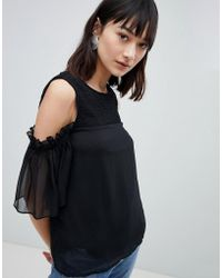 Pieces - Cold Shoulder Top With Mesh Sleeve - Lyst