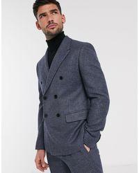 ASOS – Schmale, zweireihige Anzugjacke aus Tweed-Wollmischung - Blau