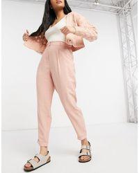 Oasis Светло-розовые Широкие Брюки Со Складками И С Отворотами -розовый Цвет