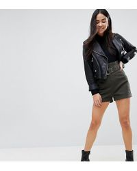 ASOS - Design High Waisted Peg Shorts In Khaki With Extra Long Belt - Lyst
