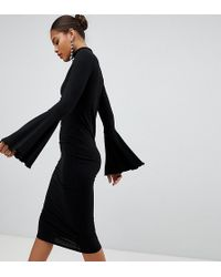 ASOS - Asos Design Tall Midi Bodycon Dress With Flared Sleeves - Lyst
