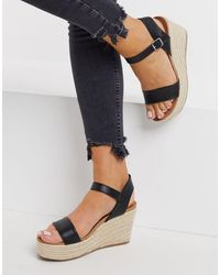 New Look Faux Leather Espadrille Wedges - Black