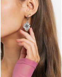 Regal Rose Hoop Earring With Floral Drop - Metallic