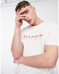 Nicce London Camiseta blanca con logo con diseño degradado Vina - Blanco