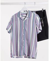 TOPMAN Short Sleeve Striped Shirt - Blue