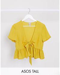 ASOS Asos Design Tall Tie Front Peplum Top - Yellow