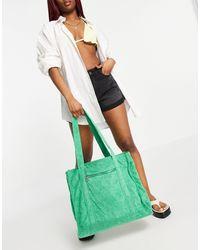 Pull&Bear Towelling Tote Bag - Green