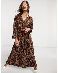 Vero Moda Exclusive Wrap Midi Dress - Brown