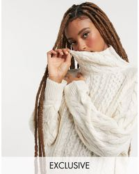 Reclaimed (vintage) – Inspired – Hochgeschlossener Pullover mit Zopfstrickmuster - Natur