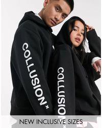 Collusion Sudadera con capucha y logo en negro unisex