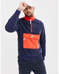 Nike - Half Zip Borg Sweat In Navy 929097-451 - Lyst