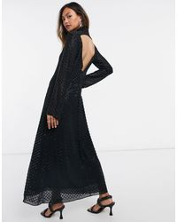 & Other Stories Черное Платье Макси С Бисером Из Переработанного Материала -черный Цвет