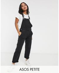 ASOS Asos Design Petite Denim Dungaree - Black