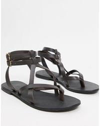 ASOS Franca Leather Gladiator Sandals - Brown