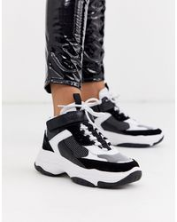 Calvin Klein Черно-белые Высокие Кроссовки На Массивной Подошве - Черный