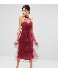 True Violet - Tiered Longer Length Midi Dress In Tulle - Lyst