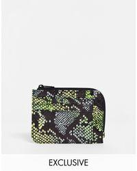 Monki Neon Snake Print Faux Leather Card Case - Multicolour