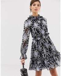 Ted Baker Floral Ruffle Skater Dress - Black
