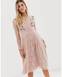 Frock and Frill Prairie Lace Midi Dress With Embroidered Wrap Front In Soft Rose - Pink