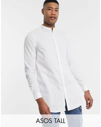 ASOS Tall Regular Fit Super Longline Shirt With Grandad Collar - White