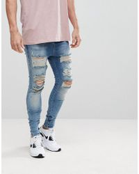 SIKSILK - Muscle Fit Drop Crotch Jeans With Distressing - Lyst