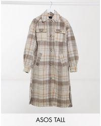 ASOS - Длинная Куртка-рубашка В Клетку - Lyst