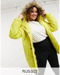 Vero Moda Желтая Парка С Пушистым Капюшоном И Завязкой На Поясе Curve-желтый