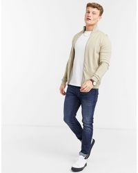 SELECTED Zip Through Knitted Cardigan - Natural