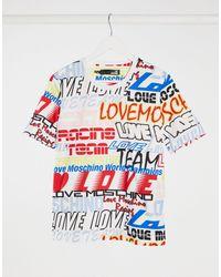 Love Moschino Белая Футболка С Разными Надписями -белый