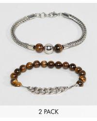 ALDO - Beaded & Chain Bracelets In 2 Pack - Lyst