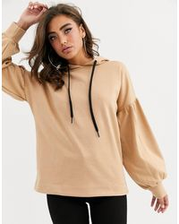 PrettyLittleThing Hoody With Balloon Sleeve Detail - Natural