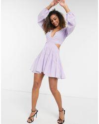 Bardot Cut-out Balloon Sleeve Mini Dress - Purple