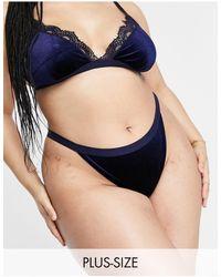 ASOS Asos Design Curve Annie Velvet Thong With Lace - Blue