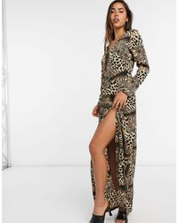 Girl In Mind Wrap Skirt Maxi Dress In Animal Print-multi - Multicolour