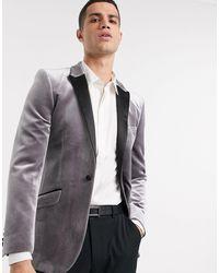 ASOS Super Skinny Velvet Tuxedo Blazer - Grey
