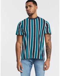 Bershka Vertical Striped T-shirt - Green