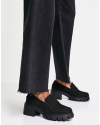 ASOS Storm Chunky Mid Heeled Loafers - Black