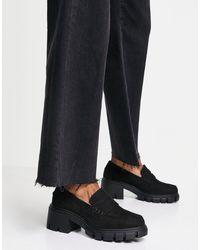 ASOS – storm – klobige loafer mit mittelhohem absatz - Schwarz
