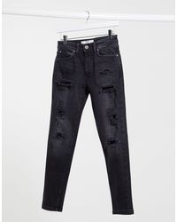 Bershka – Schmal geschnittene Jeans - Schwarz