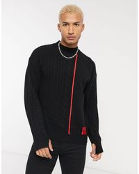 HUGO Scablo Cable Knitted Taped Jumper - Black