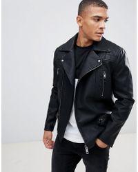 New Look Biker Jacket With Zip Detail In Black